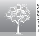 hand drawn oak tree. family... | Shutterstock .eps vector #303425633