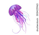Purple Watercolor Jellyfish...