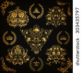 set of gold damask ornaments.... | Shutterstock .eps vector #303435797