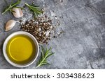 food background with olive oil  ... | Shutterstock . vector #303438623