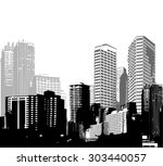 black and white panorama cities.... | Shutterstock .eps vector #303440057