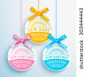 bright congratulatory set of 3... | Shutterstock .eps vector #303444443