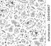 Love symbols Seamless pattern. Hand drawn doodles Vector illustration. Happy Valentine's day.