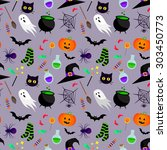 vector seamless halloween... | Shutterstock .eps vector #303450773