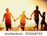 hexagon frame holiday summer... | Shutterstock . vector #303468743