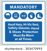 mandatory signs at construction ... | Shutterstock .eps vector #303470993