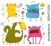 fun cute kind monsters for... | Shutterstock .eps vector #303471203