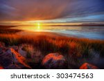 orange sun bidding us goodbye | Shutterstock . vector #303474563
