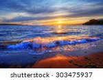 Rolling Waves Along The Shore
