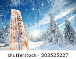 thermometer on snow landscape... | Shutterstock . vector #303525227