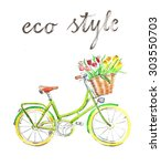 watercolor hand drawn bicycle   ... | Shutterstock . vector #303550703
