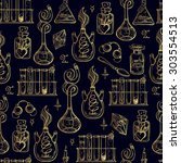 seamless pattern of alchemy... | Shutterstock .eps vector #303554513