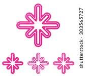 pink line cross logo design set