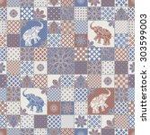 vector seamless patchwork... | Shutterstock .eps vector #303599003
