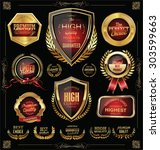 quality golden badges and... | Shutterstock .eps vector #303599663