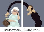 scammer talks on a phone with a ... | Shutterstock .eps vector #303643973