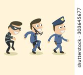 robbers pretend to be policemen | Shutterstock .eps vector #303645677
