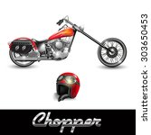 chopper motorcycle and helmet... | Shutterstock .eps vector #303650453