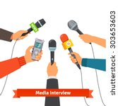 microphones and voice recorder... | Shutterstock .eps vector #303653603