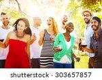 diverse people friends hanging... | Shutterstock . vector #303657857