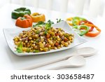corn salad in a plate | Shutterstock . vector #303658487