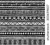 black and white tribal navajo... | Shutterstock .eps vector #303659837