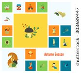 set of flat autumn icons.... | Shutterstock .eps vector #303689447