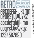 retro triple line stripes font  ... | Shutterstock .eps vector #303697583