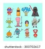 little monsters pack vector 2 ... | Shutterstock .eps vector #303702617