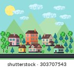 background. street  colorful... | Shutterstock . vector #303707543