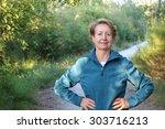 happy senior woman with hands... | Shutterstock . vector #303716213