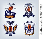 rugby club emblem  college... | Shutterstock .eps vector #303718907