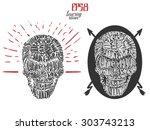 devil skull lettering poster ... | Shutterstock .eps vector #303743213