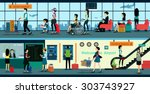 men and women choose to travel...   Shutterstock .eps vector #303743927