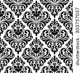 black and white seamless damask ... | Shutterstock . vector #303757037
