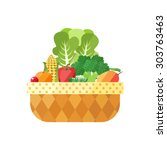 vegetable and fruit basket... | Shutterstock .eps vector #303763463