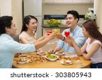 four cheerful young friends... | Shutterstock . vector #303805943