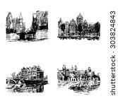 landmarks in amsterdam  holland ... | Shutterstock .eps vector #303824843