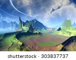 rendered fantasy alien planet.... | Shutterstock . vector #303837737