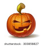 Stock vector cartoon vector illustration of a jack o lantern pumpkin curved in a mean expression isolated on 303858827