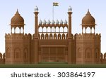 illustration of red fort in new ... | Shutterstock .eps vector #303864197
