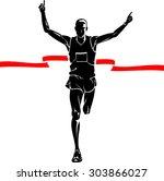 marathon winner male silhouette   Shutterstock .eps vector #303866027