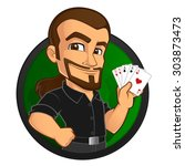 poker player  he has some cards ... | Shutterstock .eps vector #303873473