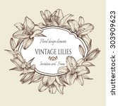 vintage floral card with a... | Shutterstock .eps vector #303909623