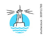 vector lighthouse logo on white ... | Shutterstock .eps vector #303911783