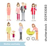 mother and baby. pregnant woman.... | Shutterstock .eps vector #303933083