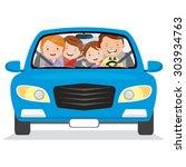 happy family in the car. vector ... | Shutterstock .eps vector #303934763