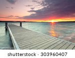 Wooden Jetty At Lake ...