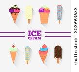 ice cream set for design. eight ... | Shutterstock . vector #303993683