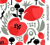 seamless floral pattern with... | Shutterstock .eps vector #304020587